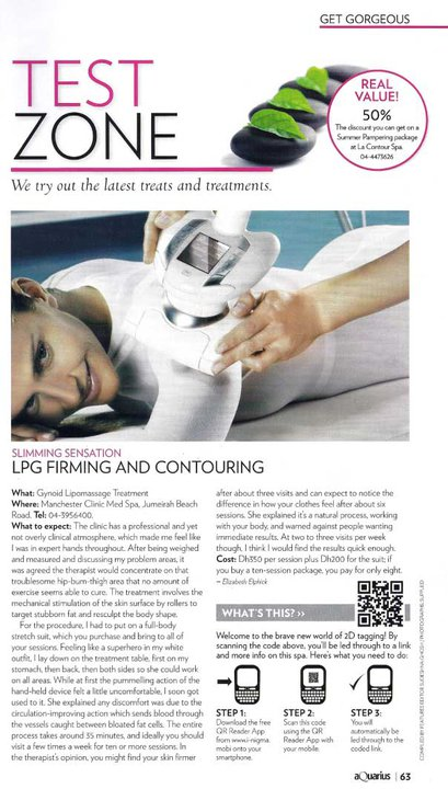 Aquarius magazine reviews LPG Lipomassage at Manchester Clinic MedSpa (Changing soon to The Private Clinic)